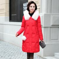 2017冬装新款中老年女装高端时尚气质中长款羽绒服狐狸毛领外套