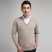 新款秋冬男士羊绒衫毛衣针织衫短款套头圆领V领宽松大码打底衫