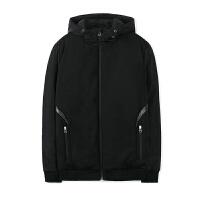 秋冬季新款男士休闲黑色修身棉衣连帽运动外套男装 黑色