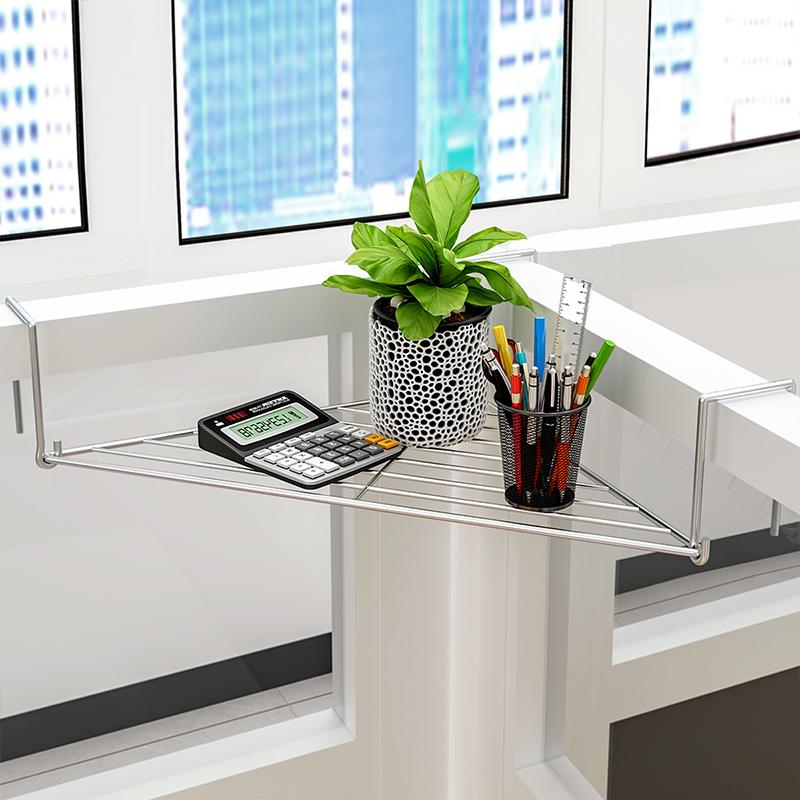 索尔诺 办公室三角铁艺花架办公桌面工位隔板置物架阳台护栏转角收纳挂架