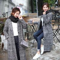 秋装韩版女装格子毛呢外套冬修身显瘦长款加厚茧型千鸟格呢子大衣
