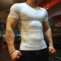 紧身衣男运动短袖夏速干透气弹力跑步篮球训练健身服V领薄款上衣