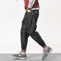 秋季哈伦裤男士日系复古潮流牛仔裤青年宽松加肥大码薄款小脚裤子 黑色