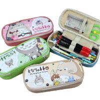 韩国文具盒可爱创意龙猫大容量笔袋笔盒皮质pu铅笔盒学生笔袋
