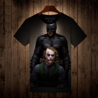 人气新品蝙蝠侠小丑衣服 男士圆领短袖T恤男