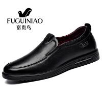 富贵鸟秋冬季新款皮鞋男士商务休闲鞋套脚头层牛皮皮鞋 A791028黑色 38
