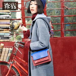 森宿冬装女文艺含羊毛呢子大衣直筒休闲长款连帽毛呢外套女