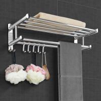 浴室置物架免打孔毛巾架加厚不锈钢卫生间置物架浴巾架卫浴收纳架