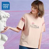 真维斯女装 2021春夏新款 全棉圆领撞色拼接印花短袖T恤