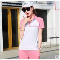 新品立领短袖长裤运动服女子运动套装韩版网球服休闲服棉 可礼品卡支付