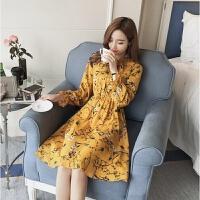 连衣裙秋装新款中长款碎花修身显瘦长袖雪纺衬衫裙打底长裙女 黄色