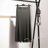 高腰针织包臀裙秋冬女新款韩版中长款修身半身裙毛线一步裙子 棕灰色 均码