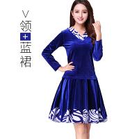 ZHENG 广场舞服装套装新款冬季 青花瓷金丝绒中长袖加厚加绒跳舞广场服