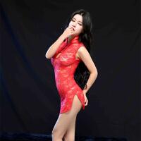 古典旗袍情趣内衣 蕾丝透明诱惑套装 三点式性感内衣睡裙