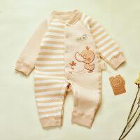 贝萌 婴幼儿秋冬款纯棉哈衣 宝宝天然彩棉保暖连体衣可开档爬服0-3个月