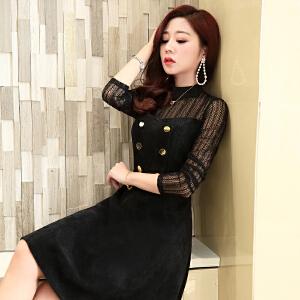 2018时尚春装新款女装中长款韩版蕾丝拼接修身显瘦潮流收腰连衣裙