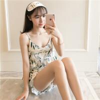 吊带睡衣女夏季宽松性感两件套装韩版清新学生女可外穿家居服 XFS#吊带套树叶(送眼罩)