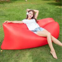 便携式空气沙发袋 户外单人快速充气沙发床 懒人便携可折叠沙滩睡袋躺椅气垫床 乌篷船遮阳床 红色