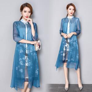 RANJU 然聚2018女装夏季新品新款改良旗袍假两件气质印花复古中国风连衣裙