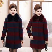 妈妈秋冬装中长款毛呢子外套30-40岁50中老年女毛领大衣新款风衣
