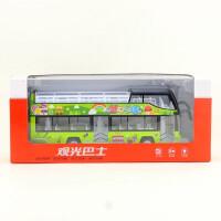 儿童豪华双层敞篷观光旅游巴士仿真合金城市模型回力声光玩具男孩女孩礼物 单只装双层敞篷巴士观光车