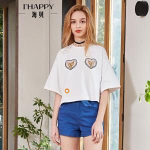 海贝2018夏装新款女上衣  白色宽松休闲贴布印花圆领套头短袖T恤