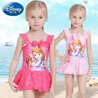 迪士尼儿童泳衣女童连体保暖速干卡通苏菲亚女孩宝宝泡温泉游泳衣