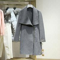 双面呢大衣女冬装新款 翻领中长款斜拉链百搭显瘦毛呢外套