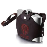 32盎司加厚酒壶不锈钢烈酒水壶大容量随身户外便携酒瓶带皮套