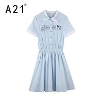 以纯线上品牌a21 夏装新品女生简约时尚连衣裙甜美可爱女装休闲纯棉舒适裙子