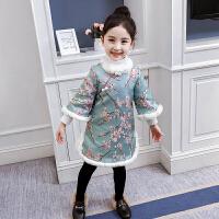 儿童棉衣冬季2018新款民族风旗袍连衣裙新年装碎花裙子女孩外套