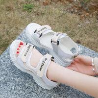 韩版坡跟露趾运动休闲松糕凉鞋女夏季女士百搭厚底魔术贴