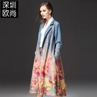女装秋冬新款欧美印花朵撞色大码西装领麂皮绒外套女开衫风衣