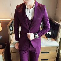 男士西服三件套装韩版修身西装伴郎礼服休闲外套小西装帅气格子潮 红色 L