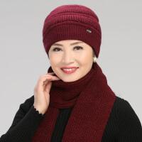 冬天老人帽子女士保暖帽兔毛混纺针织毛线帽冬季中老年妈妈围巾套