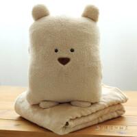 办公室空调被抱枕被子两用汽车靠垫小枕头多功能可爱个性靠枕毯子 棕色方熊 暖手+抱枕 毯子1米x1.6米