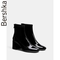 Bershka女鞋2018春季黑色裸靴漆皮方头粗高跟短靴踝靴15152231040 黑色