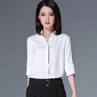 雪纺衫短袖女2018新款夏季小衫百搭上衣中袖白色衬衫立领网红衬衣 白色