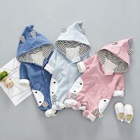 婴儿衣服春秋装0-1岁男女宝宝连体衣外出服6个月全开档爬爬服抱衣