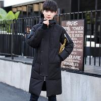 冬季新款男士羽绒服男韩版修身加厚中长款英伦潮流保暖大衣外套男 黑色