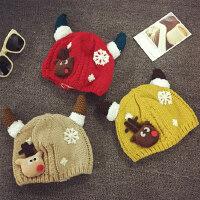 宝宝帽子1-2岁秋冬天男女童针织护耳毛线帽加绒婴儿帽6--24个月