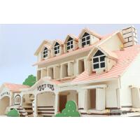 木板积木头3d立体拼图模型玩具女孩儿童益智成人手工制作木质房子