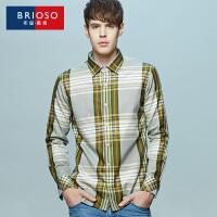BRIOSO 秋季新款全棉格子衬衫 男款休闲青年时尚百搭衬衣 ND25895