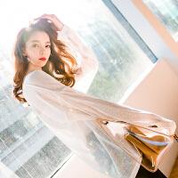 七格格白色t恤女长袖宽松春装2018新款女装韩版百搭学生透视上衣打底衫
