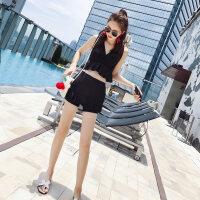 黑色泳衣女性感小胸聚拢高腰遮肉显瘦 保守分体平角两件套游泳衣 黑色