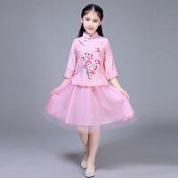 儿童民国学生服装小姐装唐装汉服古装绣花古筝表演演出服女童纱裙