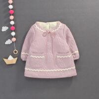 秋冬新品1-3岁女童加绒裙衫小香风宝宝娃娃衫韩版婴童连衣裙外套