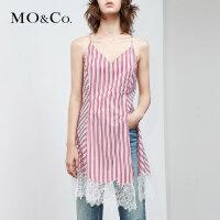 MOCO夏季新品V领拼接蕾丝条纹吊带上衣MA182TOP128 摩安珂