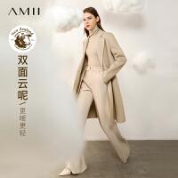 Amii�p面云呢赫本�L100%羊毛大衣女2020年新款中�L款秋冬毛呢外套