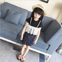 女童上衣夏装新款中小童百搭短袖T恤女宝宝假蕾丝打底衫